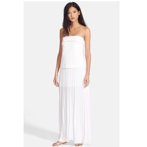 A.L.C White Strapless Crepe Pleated Skirt Formal